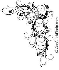 dekoratív, sarok, díszítés