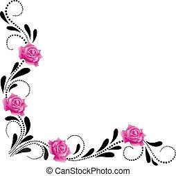 dekoratív, sarok, díszítés, virágos