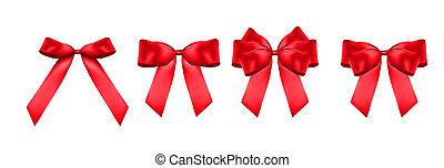 dekoratív, set., gyűjtés, íj, gyakorlatias, vektor, ábra, piros, 3