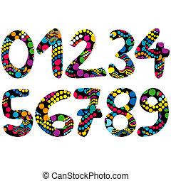 dekoratív, számok, színes