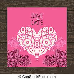 dekoratív, szív, esküvő invitation, elegáns, kártya