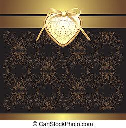 dekoratív, szív, háttér