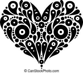 dekoratív, szív, tetovál