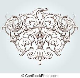 dekoratív, szüret, elem