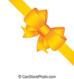 dekoratív, szalag, elszigetelt, sárga, íj