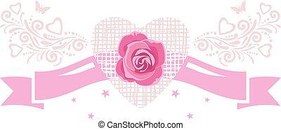 dekoratív, szalag, rose., szüret, tervezés, ünnepies, elem, rózsaszínű