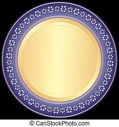 dekoratív tányér, violet-golden
