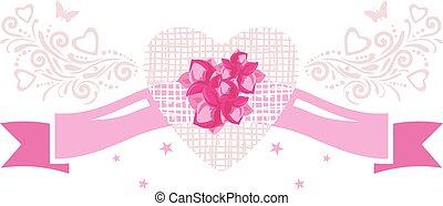 dekoratív terv, szalag, szüret, ünnepies, elem, flowers., rózsaszínű