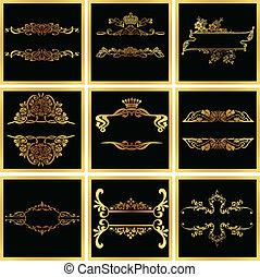 dekoratív, választékos, arany-, vektor, quad, keret