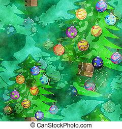 dekoratív, vízfestmény, karácsonyfa, háttér