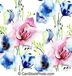 dekoratív, vad virág, tapéta, seamless