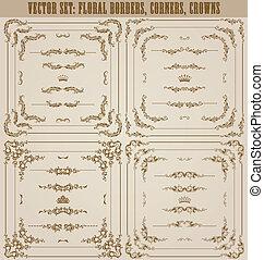 dekoratív, vektor, állhatatos, arany, keret, határok