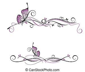 dekoratív, vektor, díszítés
