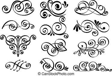 dekoratív, vektor, tervezés elem