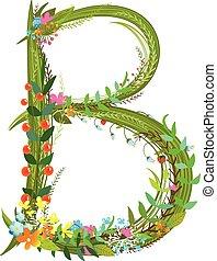 dekoratív, virág, abc, finom, b betű, levél, virágos,...