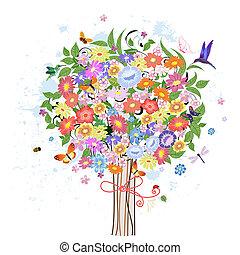 dekoratív, virág, fa, madarak