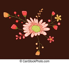 dekoratív, virág, színezett, alapismeretek