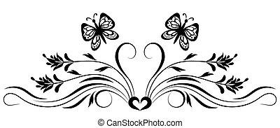 dekoratív, virágos, díszítés