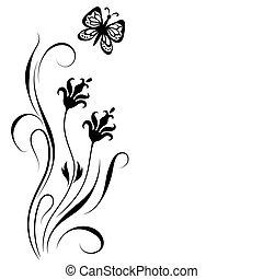 dekoratív, virágos, díszítés, sarok