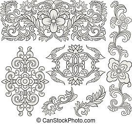 dekoratív, virágos, felcsavar, díszítés