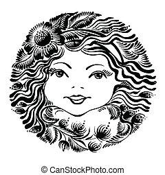 dekoratív, virágos, nő, árnykép, arc