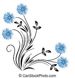 dekoratív, virágos, sarok, díszítés, százszorszép