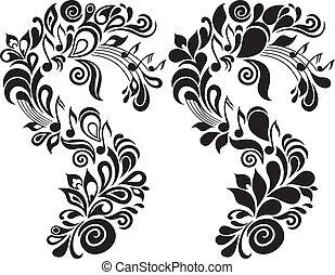 dekoratív, virágos, téma, zenés
