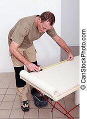 dekorateurin, messen, a, rolle tapete