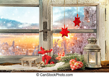 dekoration, atmosphärisch, fensterbank, weihnachten