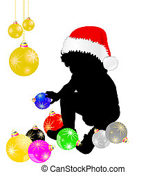 dekoration, baby, hatt, jul