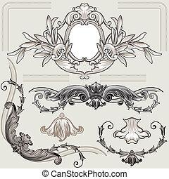 dekoration, blommig, sätta, elementara, klassisk