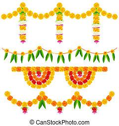 dekoration, blomst, farverig, ordning