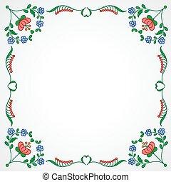 dekoration, blomstrede, ramme, broderi, ungarsk