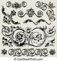 dekoration, blomstrede, sæt, elementer, klassisk