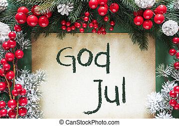 dekoration christmas, svensk, tekst, gud, jul, betyder,...
