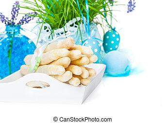 dekoration, essen, ostern, spargel
