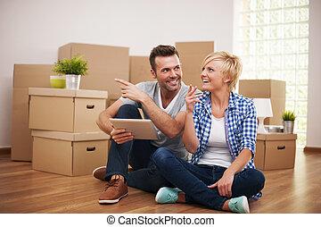 dekoration, färsk, lägenhet, lösningar
