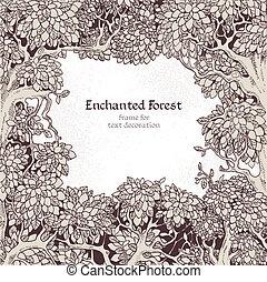 dekoration, förtrollat, ram, skog