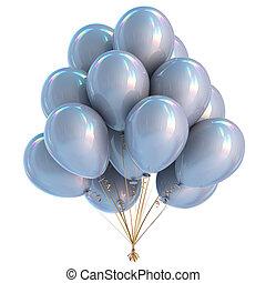 dekoration, fødselsdag gilder, hvid, balloner, sølv