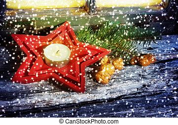 dekoration, für, weihnachten, grüßen karte