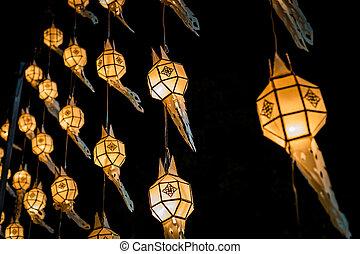 dekoration, festival, yee, peng, lampa, närbild, design
