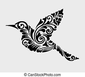 dekoration, fliegendes, verzierung, vogel