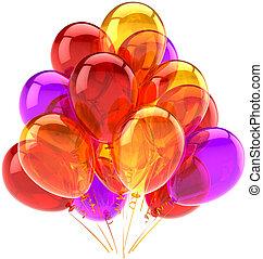 dekoration, gilde, fødselsdag, balloner
