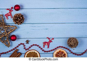 dekoration, gjord, naturlig, jul, hand