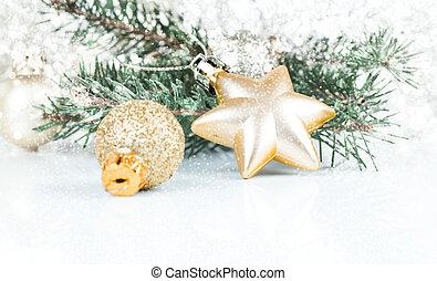dekoration, gyllene, avskrift, jul, utrymme