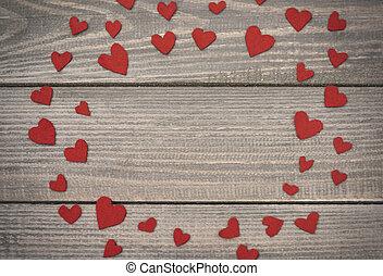 dekoration, handgjord, dag, valentinkort