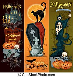 dekoration, hemsökt av spöken, baner, halloween festa