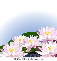 dekoration, i, liljer, på, den, vand