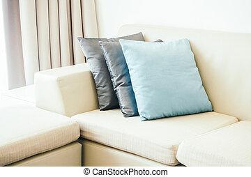 dekoration, in, wohnzimmer, inneneinrichtung