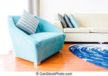 dekoration, in, wohnzimmer